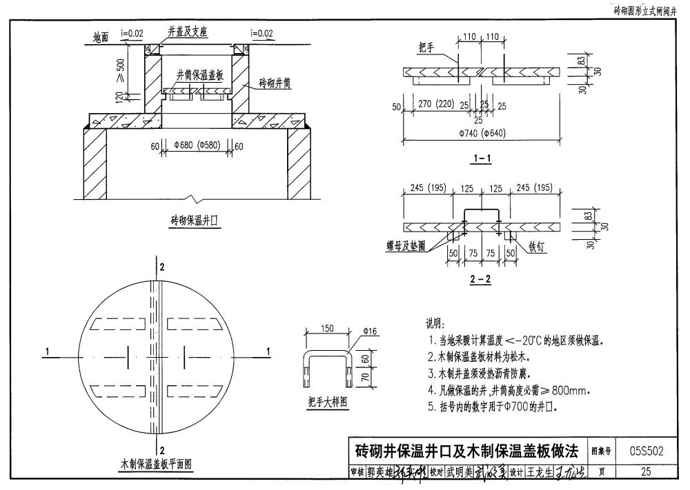 ≥100KPa、可变荷载≤超20级重车,抗震设防烈度≤8度的地区。 2.3除排泥湿井外,砖砌井均用于无地下水地区;钢筋混凝土井用于有(无)地下水地区均可。 3、 编制内容 3.1总说中介绍了图集设计条件、采用材料和施工要求。 3.2图中编制了砖砌图形立式闸阀井、砖砌圆形立式蝶阀井,砖砌圆形卧式蝶阀井、砖砌水表井,砖砌圆形排气阀井,砖砌排泥阀(湿)井、钢筋混凝土矩形立式闸阀井,钢筋混凝土矩形立式蝶阀井,钢筋混凝土矩形卧式蝶阀井、钢筋混凝土矩形水表井、钢筋混凝土矩形排气阀井等11种常用构筑物