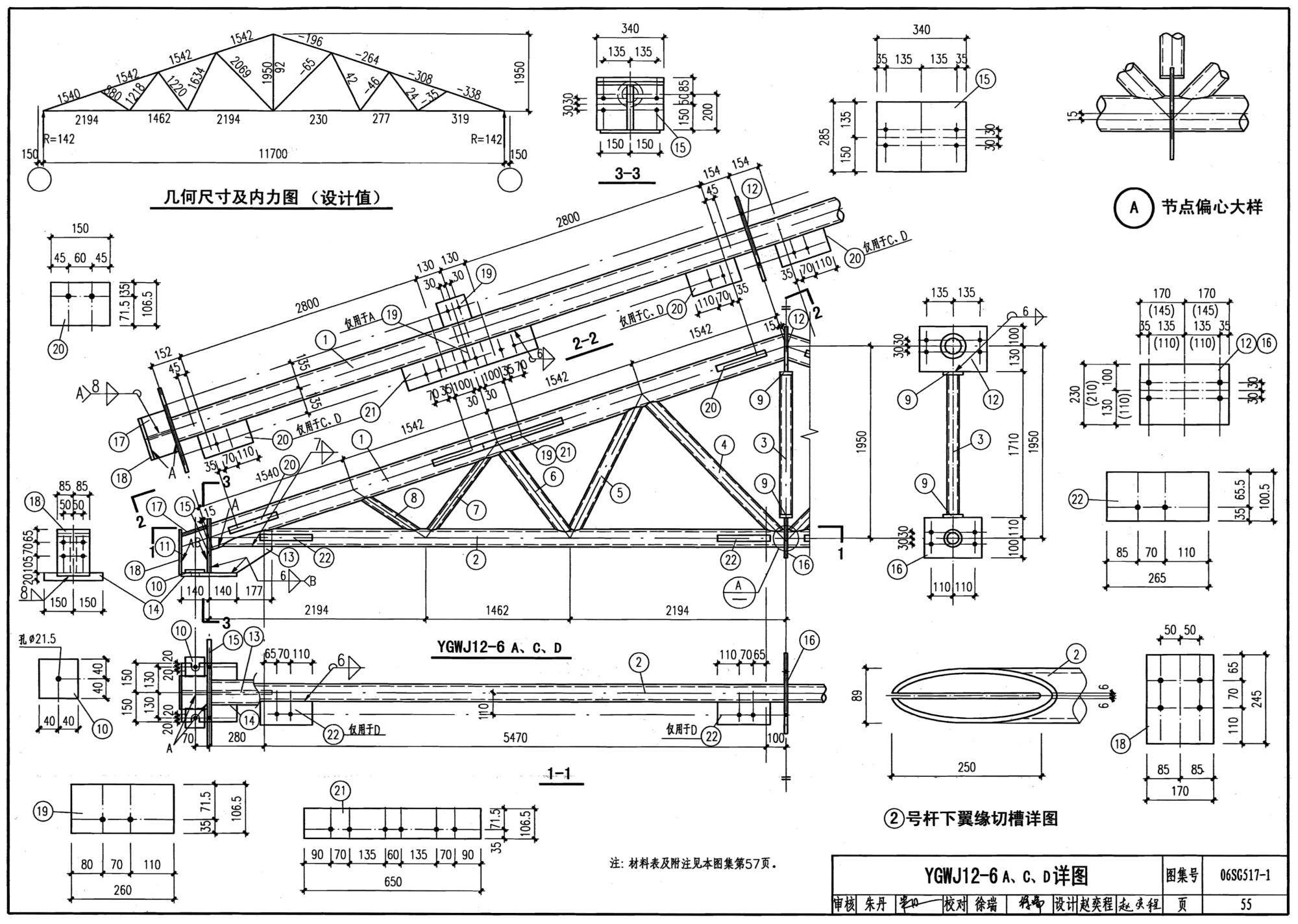 面三角形钢屋架