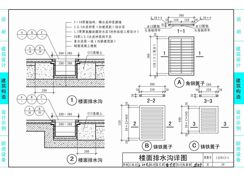 13J913-1 《公共厨房建筑设计与构造》国家建筑标准图集,适用于新建、改建、扩建的公共厨房工程。可供建筑设计人员、管理、施工及监理人员参考使用。 本图集内容主要包括民用与工业建筑的公共厨房设计、相关建筑构造和主要厨房设备。公共厨房设计包括餐馆厨房设计、饮食店厨房设计和食堂厨房设计。建筑构造包括楼地面、排水沟、吊顶、炉灶、排气道、洗池、操作台等做法。厨房设备包括炉灶系列、电磁炉系列、蒸饭柜系列、调理台柜系列、储物柜货架系列、洗刷系列、制冷系列、车类系列、食品机械系列、消毒及西餐设备系列。图集由说明、